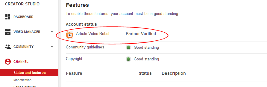 YouTube verified partner