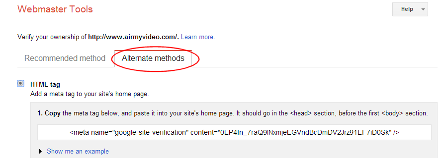 Verify website